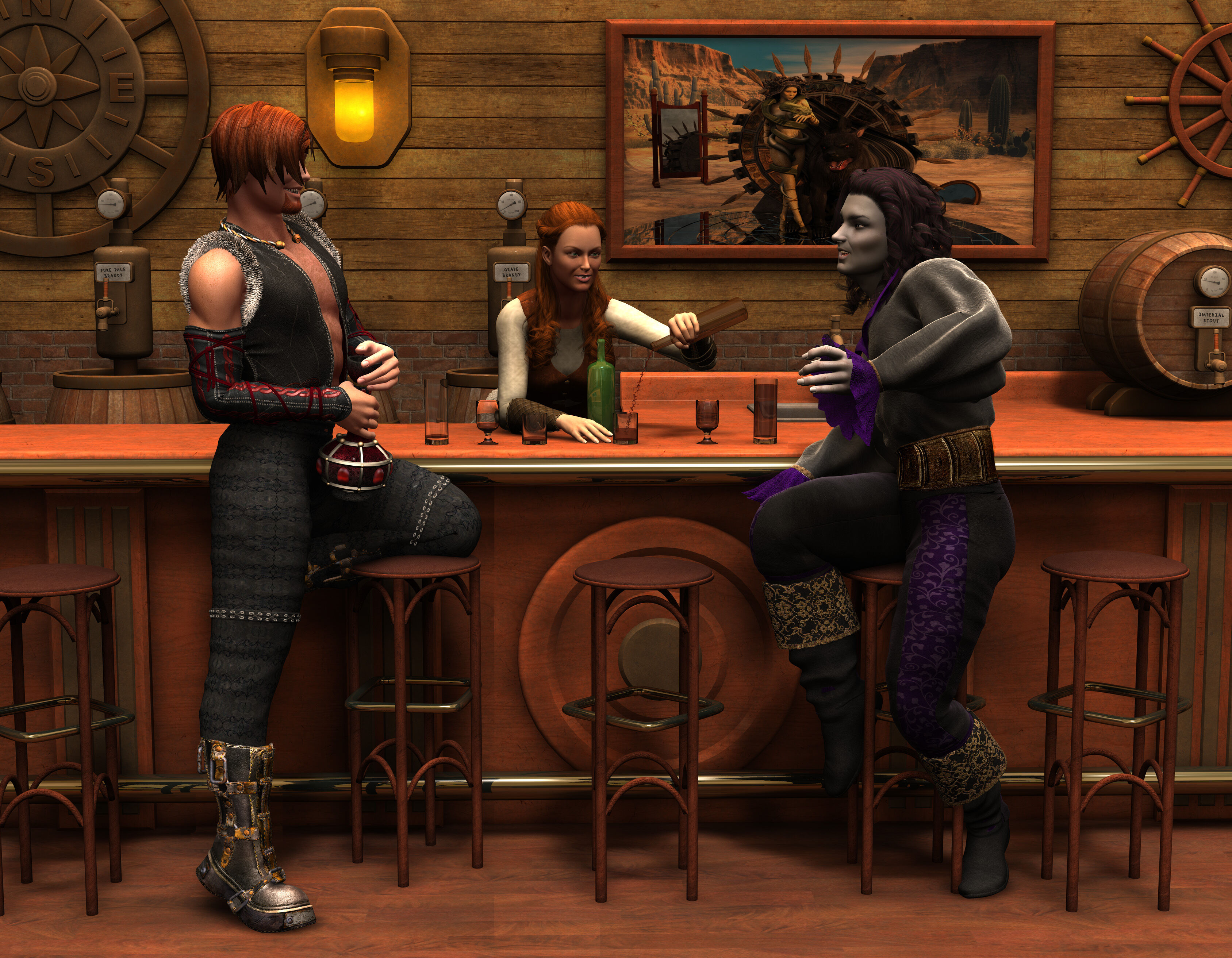 Image: Two dudes drinking and a female bartender pouring.